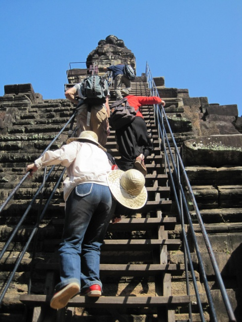 Steep stairs to temple