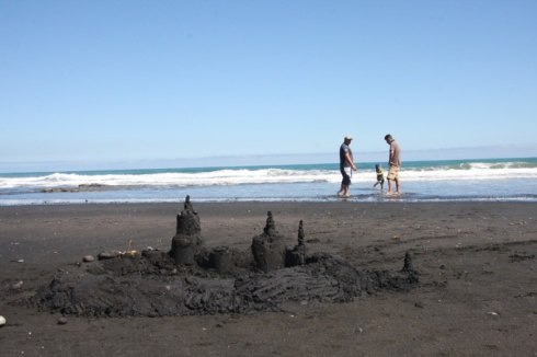 Black sandcastle