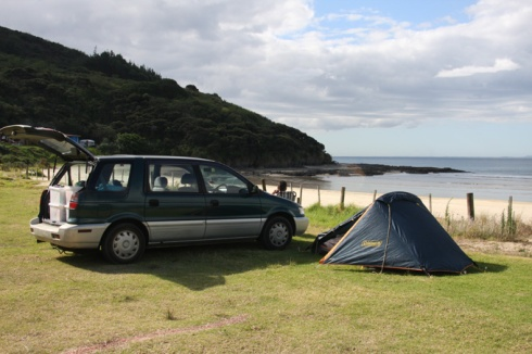Camping at Shipwreck Bay Ahipara near Kaitaia