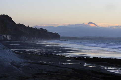 Evening cliffs and Taranaki