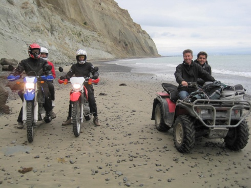 Quad and bikes on Cape Kidknappers