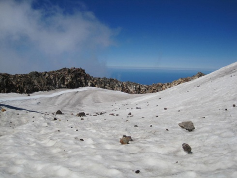 Snow in the crater