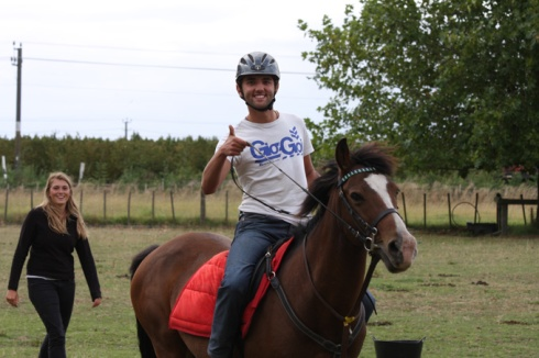 Tom enjoying riding lesson