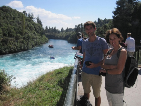 Tom picking up the car Huka falls